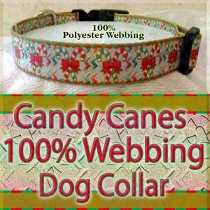 Candy Canes Polyester Webbing Designer Dog Collar Product Image No1