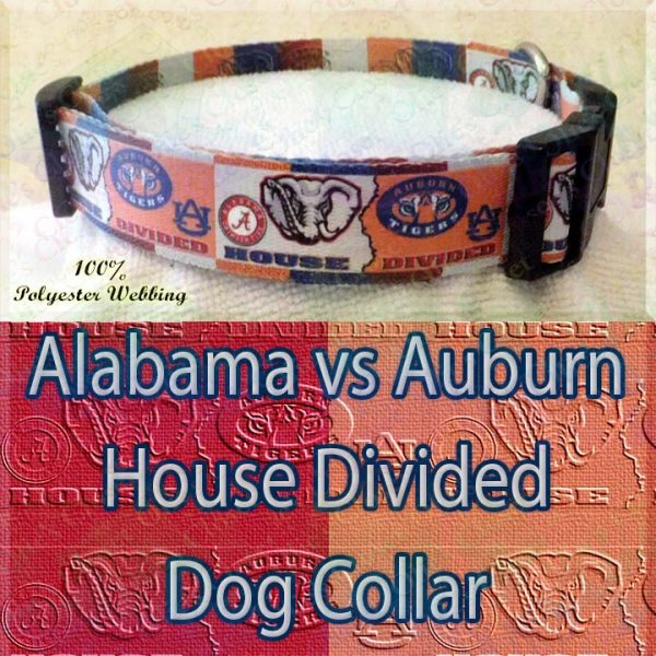 House Divided Alabama vs Auburn Designer Polyester Webbing Dog Collar Product Image No1