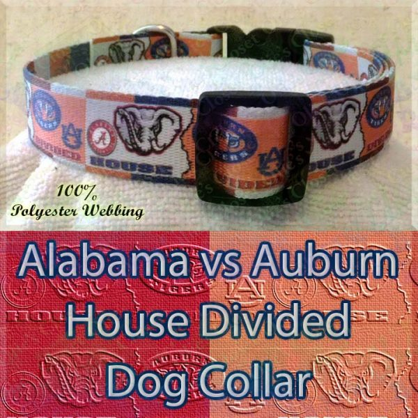 House Divided Alabama vs Auburn Designer Polyester Webbing Dog Collar Product Image No3