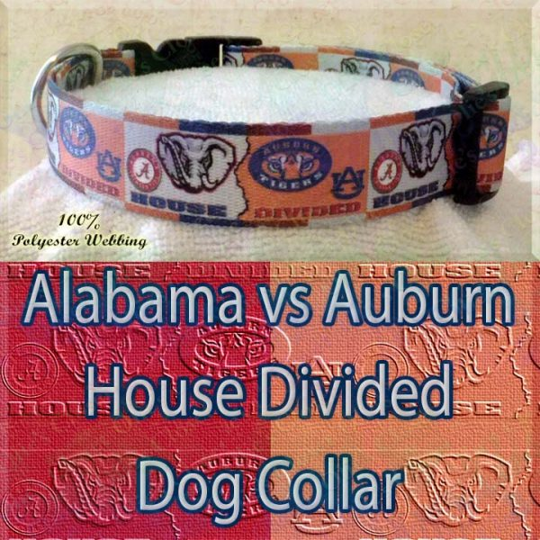 House Divided Alabama vs Auburn Designer Polyester Webbing Dog Collar Product Image No4