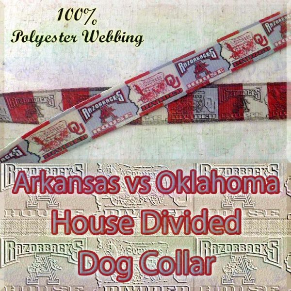 House Divided Arkansas vs Oklahoma Designer Polyester Webbing Dog Collar Product Image No1