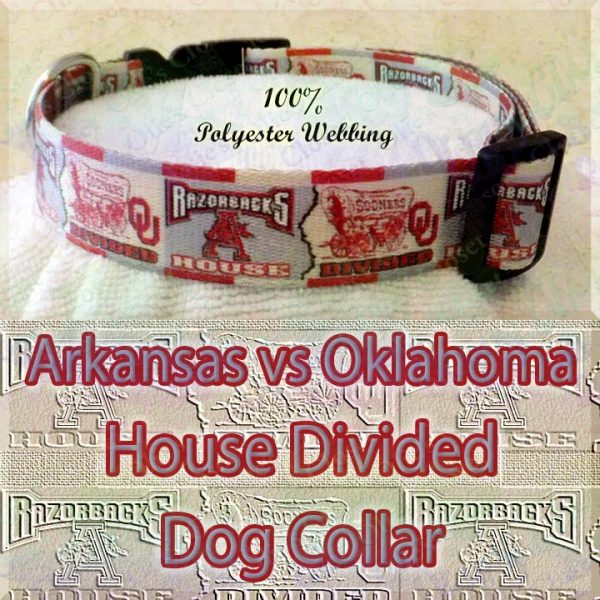 House Divided Arkansas vs Oklahoma Designer Polyester Webbing Dog Collar Product Image No2