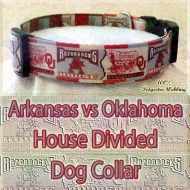 House Divided Arkansas vs Oklahoma Designer Polyester Webbing Dog Collar Product Image No4