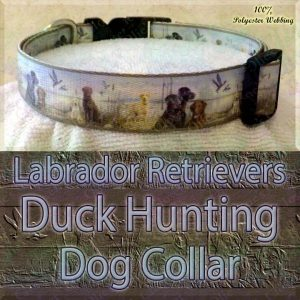 Labrador Retrievers and Duck Hunting Designer Polyester Webbing Dog Collar Product Image No2