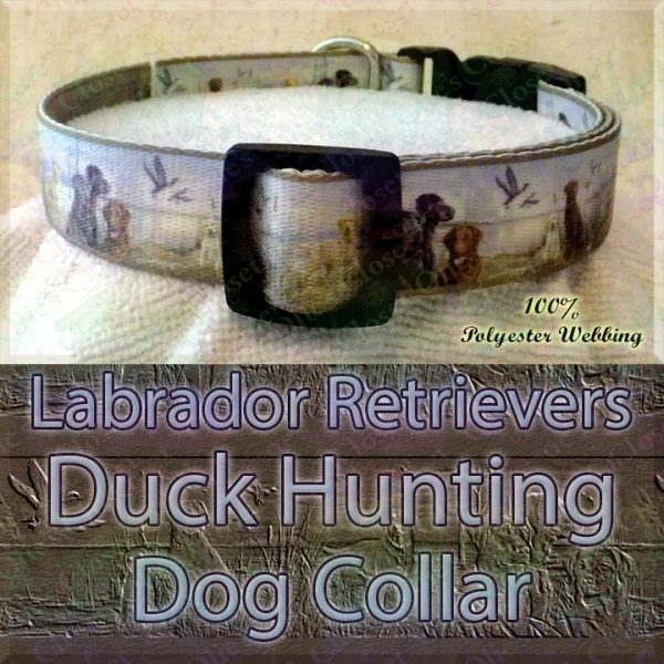 Labrador Retrievers and Duck Hunting Designer Polyester Webbing Dog Collar Product Image No3