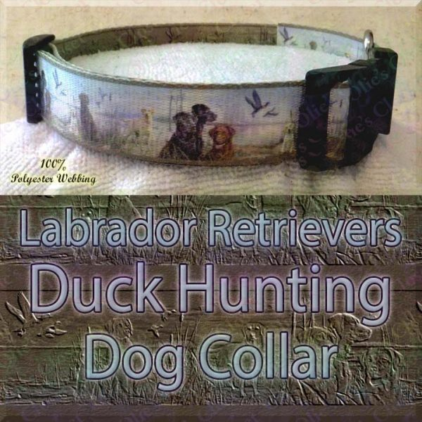 Labrador Retrievers and Duck Hunting Designer Polyester Webbing Dog Collar Product Image No4