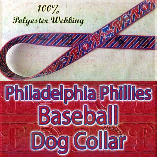 Philadelphia Phillies MLB Baseball Diagonal Stripes Designer Polyester Webbing Dog Collar Product Image No1