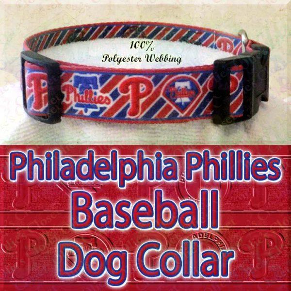 Philadelphia Phillies MLB Baseball Diagonal Stripes Designer Polyester Webbing Dog Collar Product Image No2