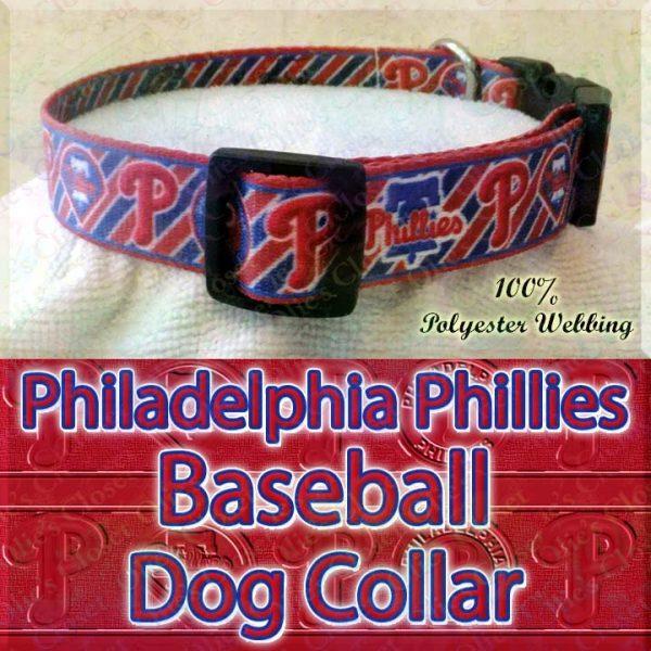 Philadelphia Phillies MLB Baseball Diagonal Stripes Designer Polyester Webbing Dog Collar Product Image No3