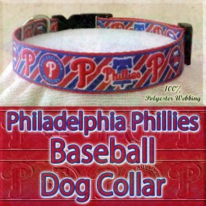 Philadelphia Phillies MLB Baseball Diagonal Stripes Designer Polyester Webbing Dog Collar Product Image No4