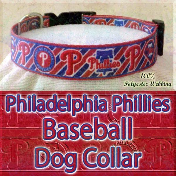Philadelphia Phillies MLB Baseball Diagonal Stripes Designer Polyester Webbing Dog Collar Product Image No4