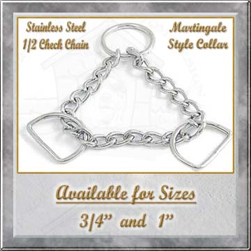 Stainless Steel half check chain Martingale Style Collar Product Image