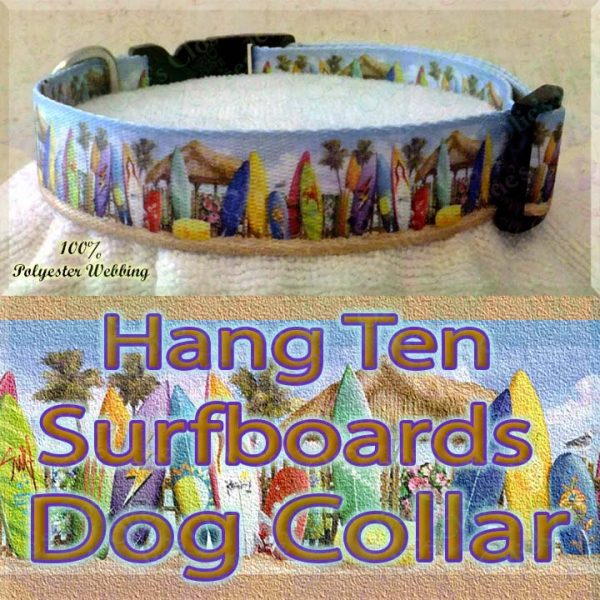 Surfboards Hang Ten Beach Huts Polyester Webbing Dog Collar Product Image No2