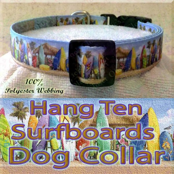 Surfboards Hang Ten Beach Huts Polyester Webbing Dog Collar Product Image No3