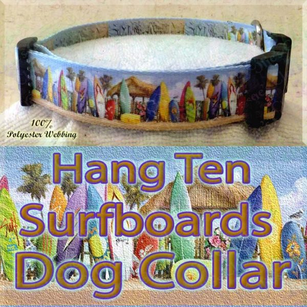 Surfboards Hang Ten Beach Huts Polyester Webbing Dog Collar Product Image No4