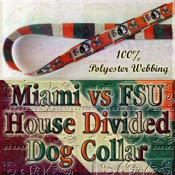 University of Miami Hurricanes vs Florida State University Seminoles House Divided Designer Dog Collar Product Image No1