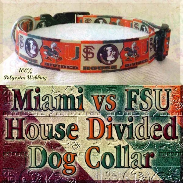 University of Miami Hurricanes vs Florida State University Seminoles House Divided Designer Dog Collar Product Image No2
