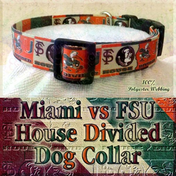 University of Miami Hurricanes vs Florida State University Seminoles House Divided Designer Dog Collar Product Image No3