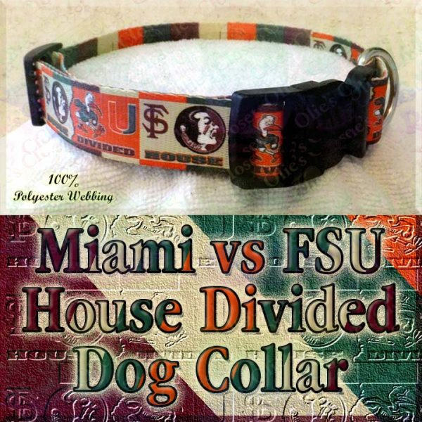 University of Miami Hurricanes vs Florida State University Seminoles House Divided Designer Dog Collar Product Image No4