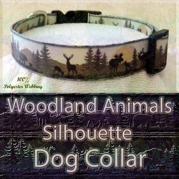 Woodland Hunters Dream Animals Silhouette Moose Deer Bear Designer Polyester Webbing Dog Collar Product Image No2