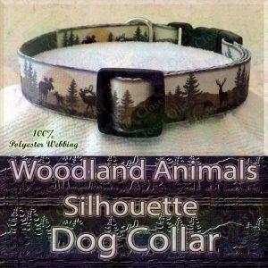 Woodland Hunters Dream Animals Silhouette Moose Deer Bear Designer Polyester Webbing Dog Collar Product Image No3