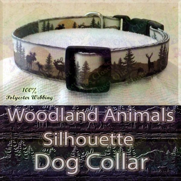 Woodland Hunters Dream Animals Silhouette Moose Deer Bear Designer Polyester Webbing Dog Collar Product Image No3