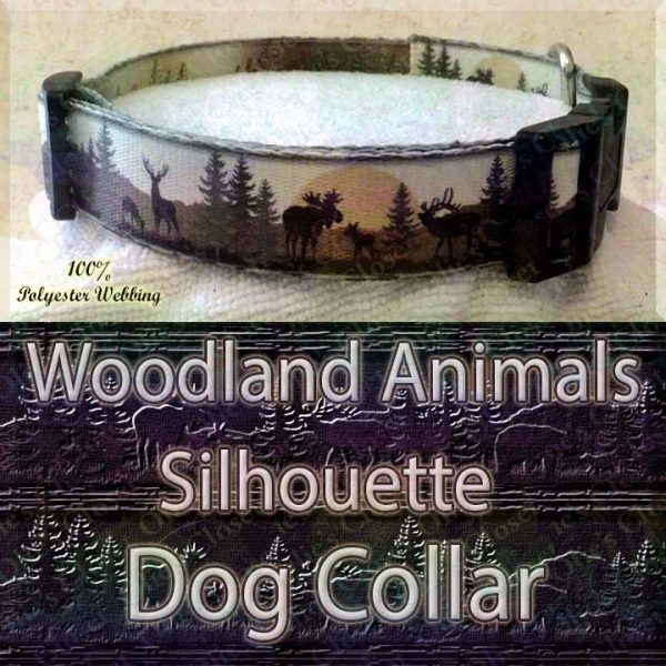 Woodland Hunters Dream Animals Silhouette Moose Deer Bear Designer Polyester Webbing Dog Collar Product Image No4