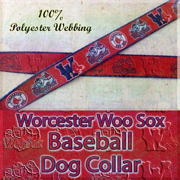 Worcester Woo Sox Baseball Designer Polyester Webbing Dog Collar Product Image No1