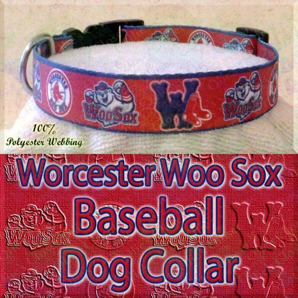 Worcester Woo Sox Baseball Designer Polyester Webbing Dog Collar Product Image No2