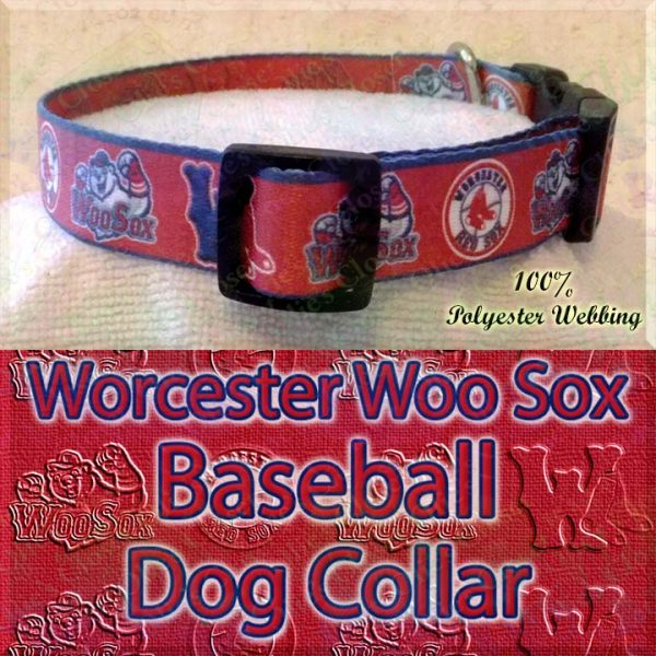 Worcester Woo Sox Baseball Designer Polyester Webbing Dog Collar Product Image No3