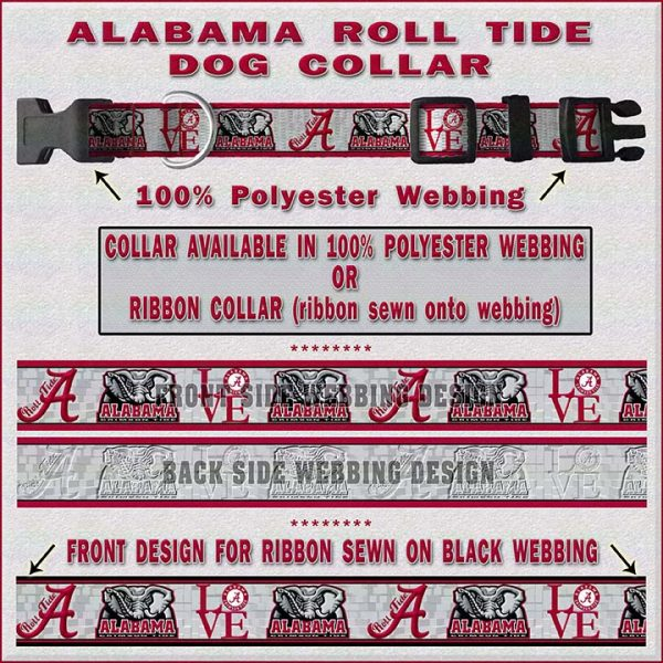 Alabama Roll Tide Dog Collar Design Display Product Image No2