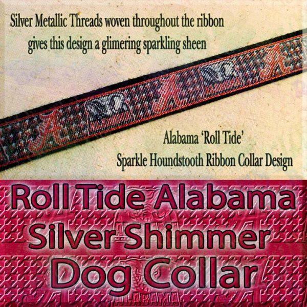 Alabama Roll Tide Houndstooth Shimmer Sparkle Dog Collar Product Image No1