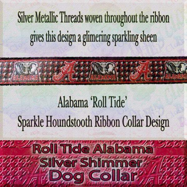 Alabama Roll Tide Houndstooth Shimmer Sparkle Dog Collar Product Image No2