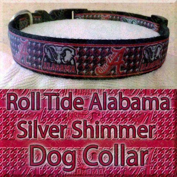 Alabama Roll Tide Houndstooth Shimmer Sparkle Dog Collar Product Image No3