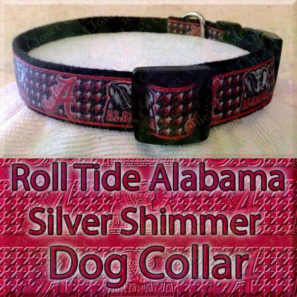 Alabama Roll Tide Houndstooth Shimmer Sparkle Dog Collar Product Image No4