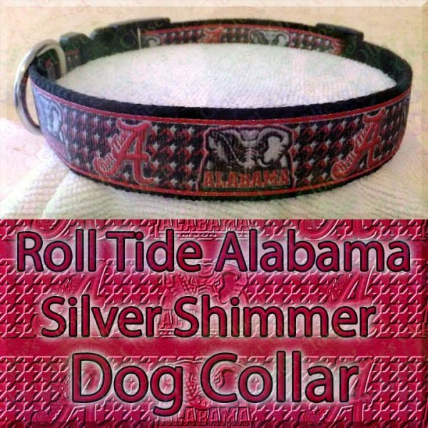 Alabama Roll Tide Houndstooth Shimmer Sparkle Dog Collar Product Image No5