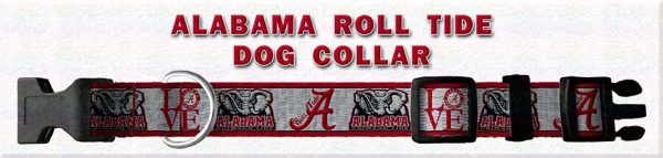 Alabama Roll Tide Polyester Webbing Dog Collar Product Image No1
