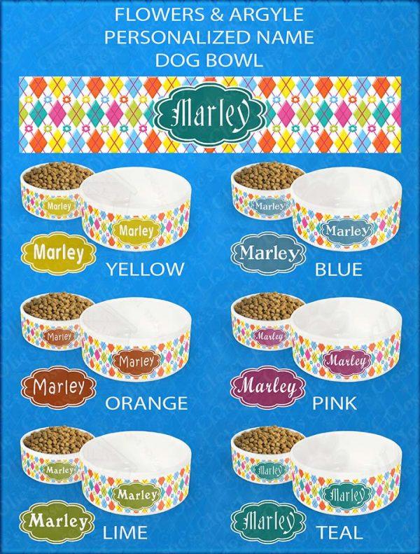 Collage Flower Argyle Personalized Custom Name Ceramic Pet Option Samples
