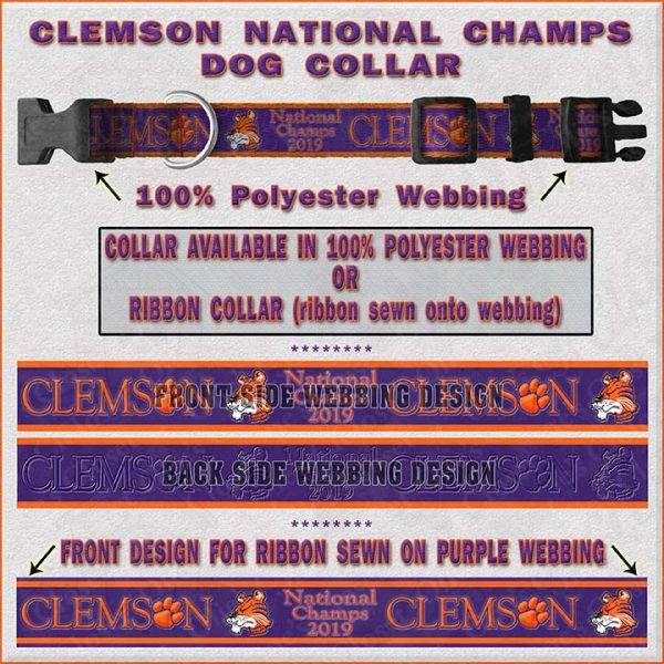 Clemson 2019 National Champs Dog Collar Design Display Product Image No2