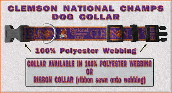 Clemson 2019 National Champs Dog Collar Design Display Product Image No3