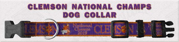 Clemson National Champs 2019 Polyester Webbing Dog Collar Product Image No1