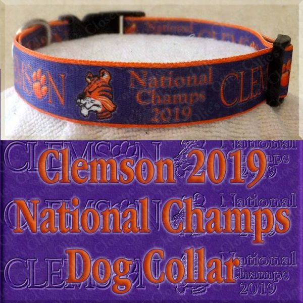Clemson Tigers National Champs 2019 Dog Collar Product Image No2