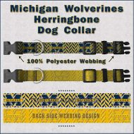Michigan Wolverines Herringbone Dog Collar Design Display Product Image No1