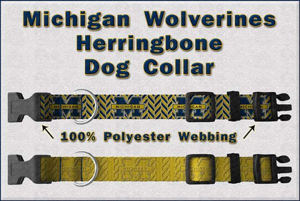 Michigan Wolverines Herringbone Dog Collar Design Display Product Image No2