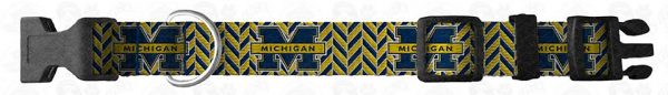 Michigan Wolverines Herringbone Dog Collar Design Display Product Image No4