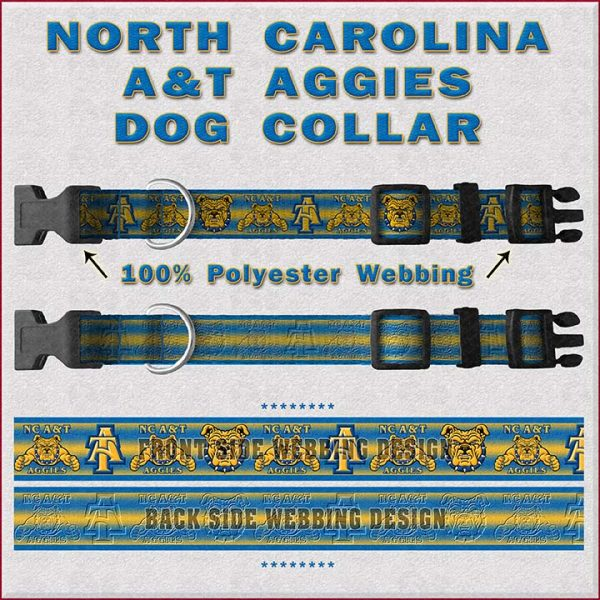 NC North Carolina A & T Aggies Dog Collar Design Display Product Image No1