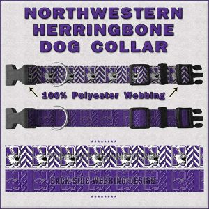 Northwestern University Herringbone Dog Collar Design Display Product Image No1