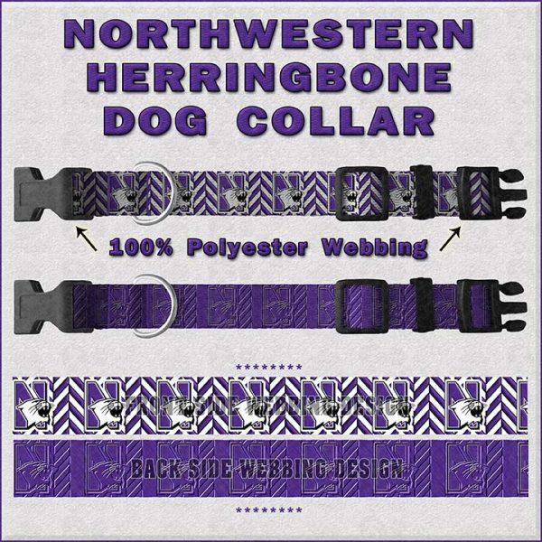 Northwestern University Herringbone Dog Collar Design Display Product Image No1