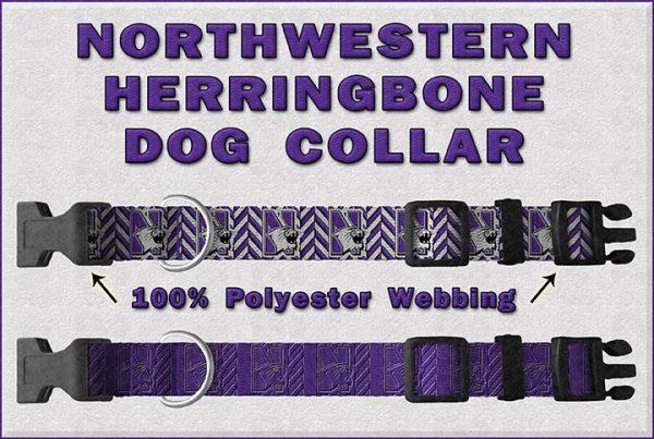 Northwestern University Herringbone Dog Collar Design Display Product Image No2
