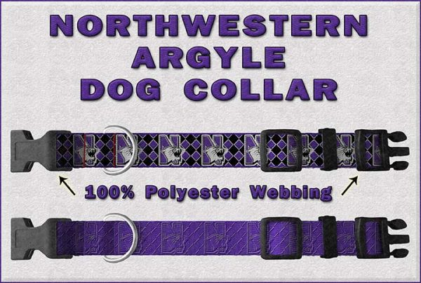 Northwestern Wildcats Argyle Dog Collar Design Display Product Image No3